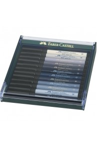 "Faber-Castell - Set 12 Pitt Artist Pen Brush ""GREY"""